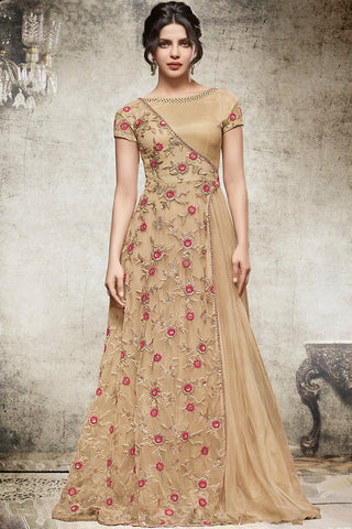 Indi Fashion Beige and Pink Shimmer Net Gown Style Party Wear Suit