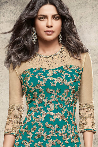 Indi Fashion Sea Blue and Beige Georgette Straight Party Wear Suit