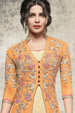 Indi Fashion Yellow and Cream Georgette Long Jacket Style Party Wear Suit