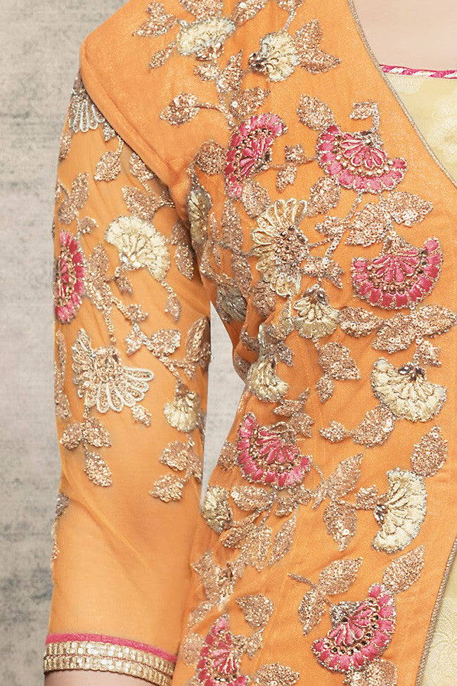 Buy Yellow and Cream Georgette Long Jacket Style Party Wear Suit Online at indi.fashion