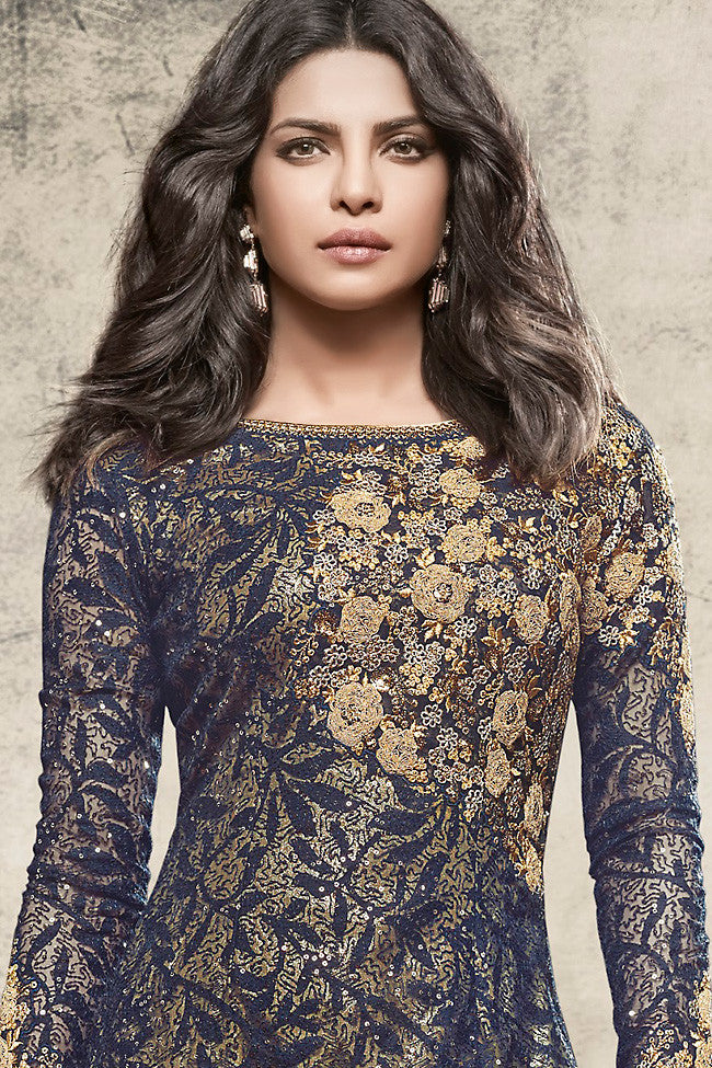 Indi Fashion Navy Blue and Beige Net Straight Party Wear Suit
