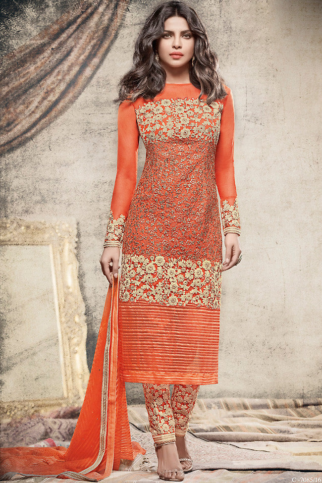 Buy Orange Net Straight Party Wear Suit Online at indi.fashion
