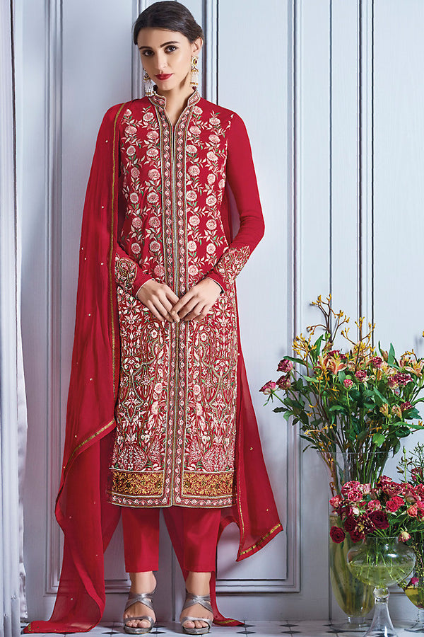 Indi Fashion Red and Silver Georgette Party Wear Lehenga Suit