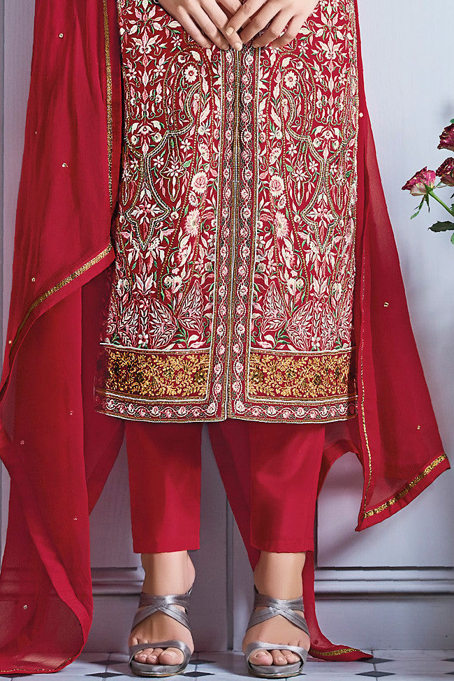 Buy Red and Silver Georgette Party Wear Lehenga Suit Online at indi.fashion