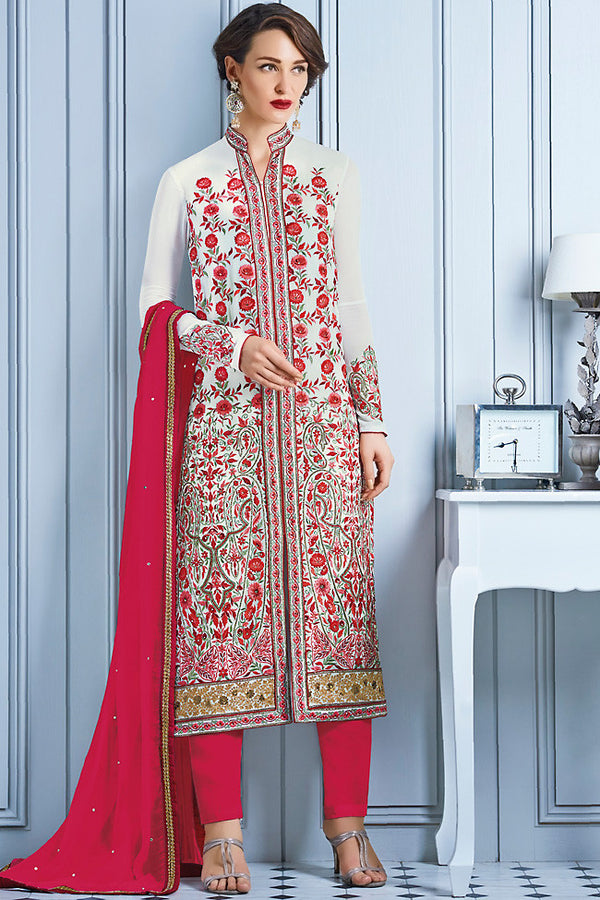 Indi Fashion White and Red Georgette Party Wear Lehenga Suit