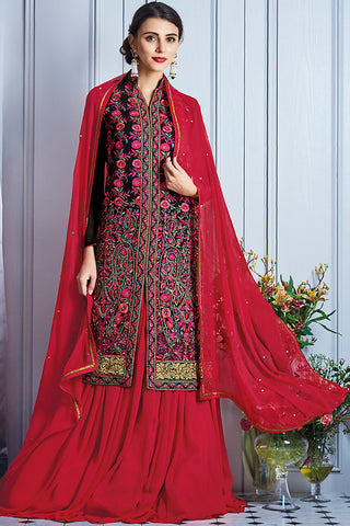 Indi Fashion Black and Red Georgette Party Wear Lehenga Suit