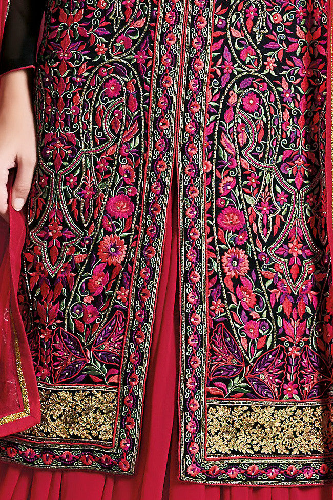 Buy Black and Red Georgette Party Wear Lehenga Suit Online at indi.fashion