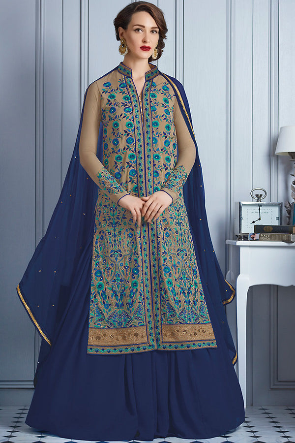 Indi Fashion Blue and Beige Georgette Party Wear Lehenga Suit