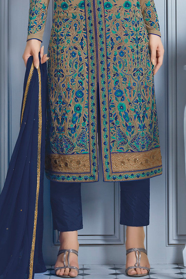 Buy Blue and Beige Georgette Party Wear Lehenga Suit Online at indi.fashion