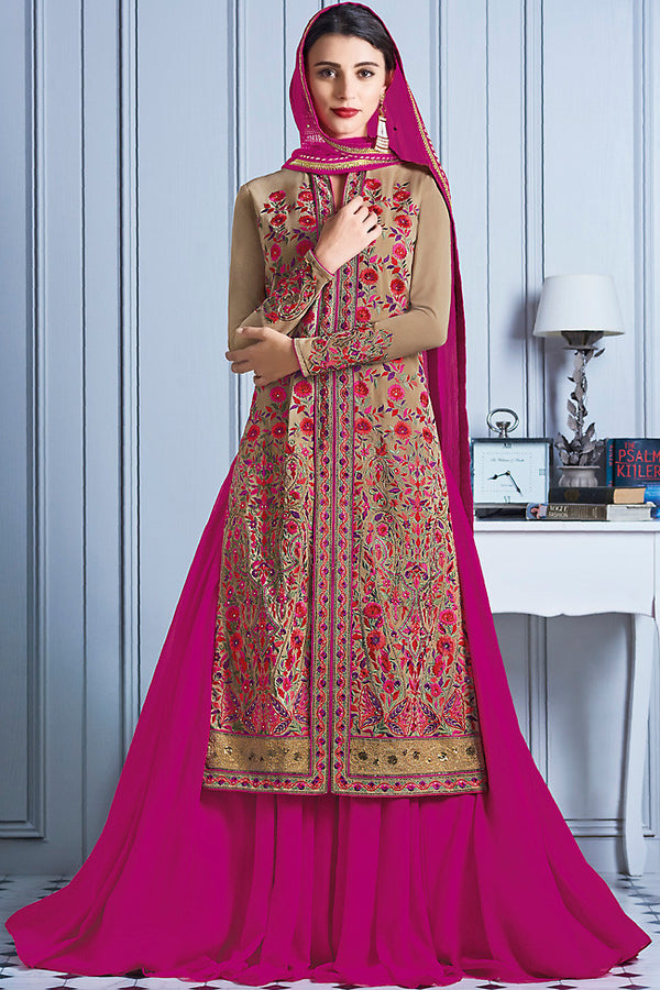 Indi Fashion Pink and Beige Georgette Party Wear Lehenga Suit