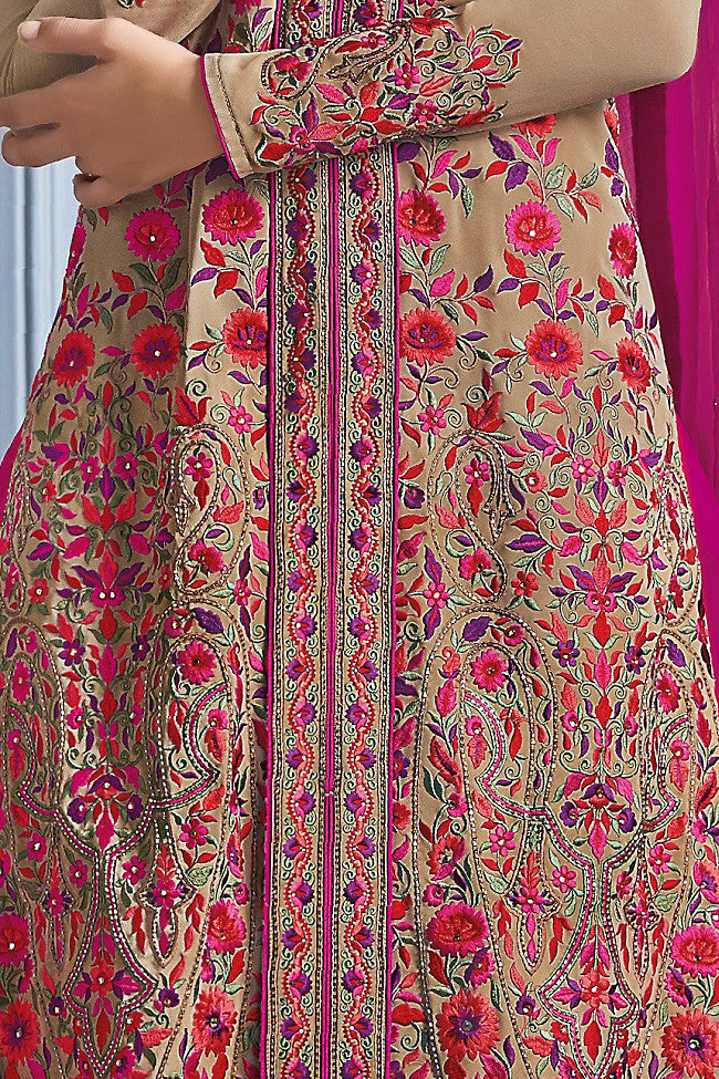Buy Pink and Beige Georgette Party Wear Lehenga Suit Online at indi.fashion