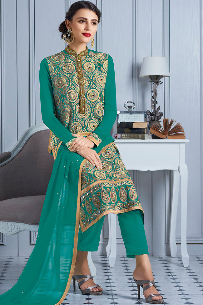 Buy Green and Gold Georgette Party Wear Suit Online at indi.fashion