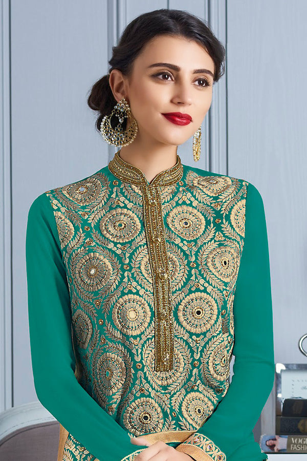 Indi Fashion Green and Gold Georgette Party Wear Suit