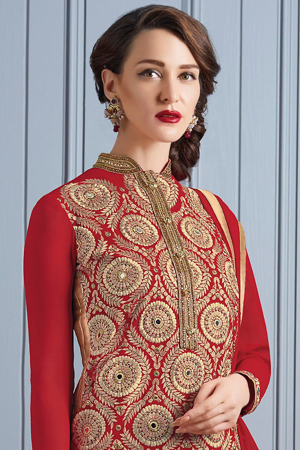 Indi Fashion Red and Gold Georgette Party Wear Suit