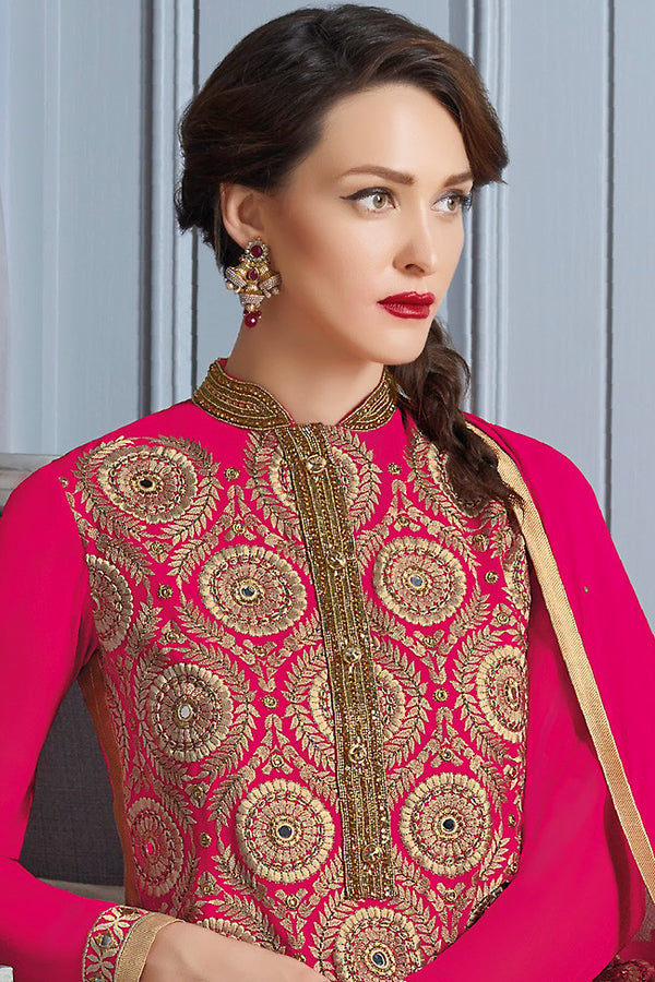 Indi Fashion Pink and Gold Georgette Party Wear Suit