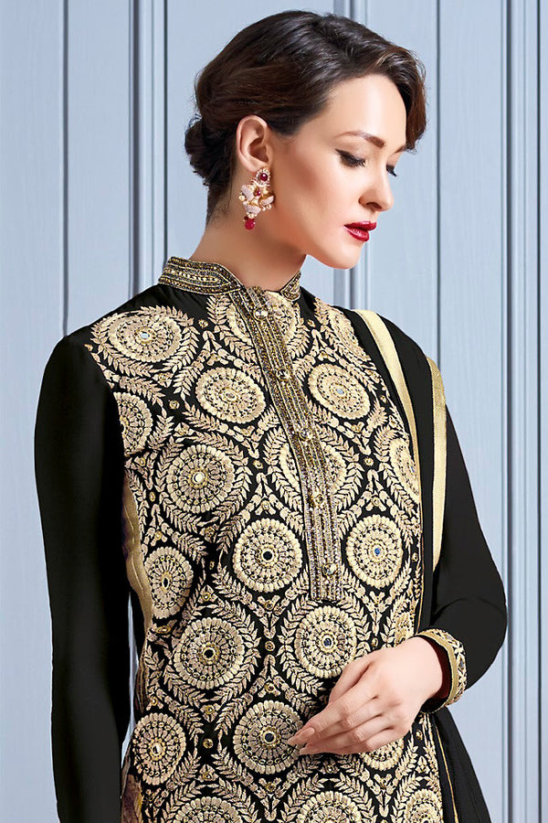 Indi Fashion Black and Gold Georgette Party Wear Suit