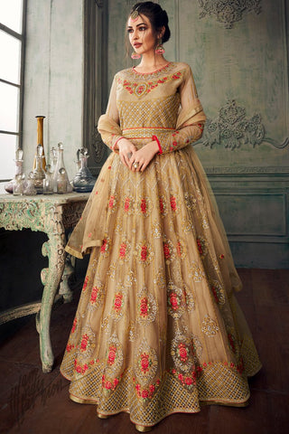 Beige Net Party Wear Lehenga Style Suit