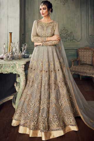 Gray Net Party Wear Lehenga Style Suit