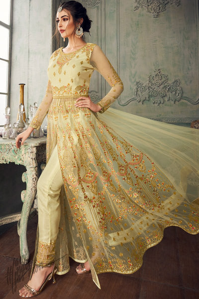 Lime Net Party Wear Lehenga Style Suit with Cigarette Pants