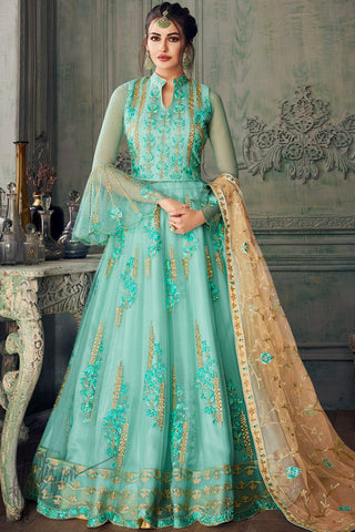 Pastel Blue and Peach Net Party Wear Lehenga Style Suit