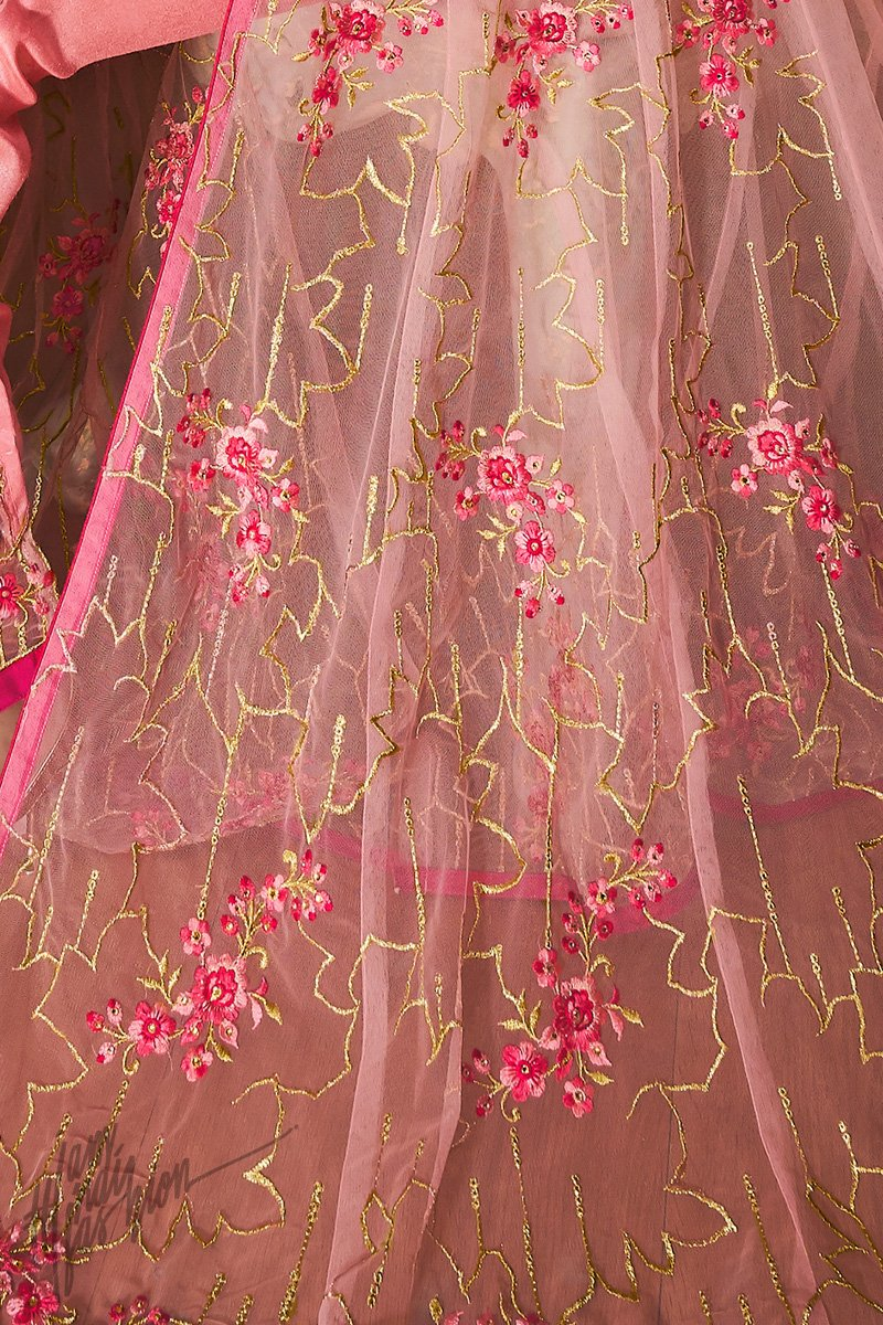 Pink Net Party Wear Lehenga Style Suit with Cigarette Pants