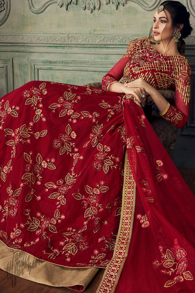 Red Net Party Wear Lehenga Style Suit