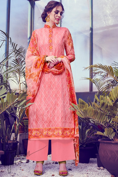 Buy Peach Cotton Straight Suit online at indi.fashion