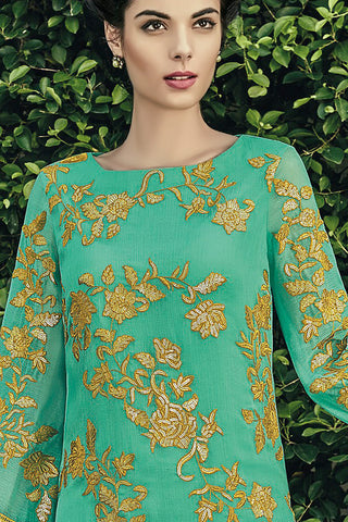 Indi Fashion Sea Green and Mustard Chiffon Straight Suit
