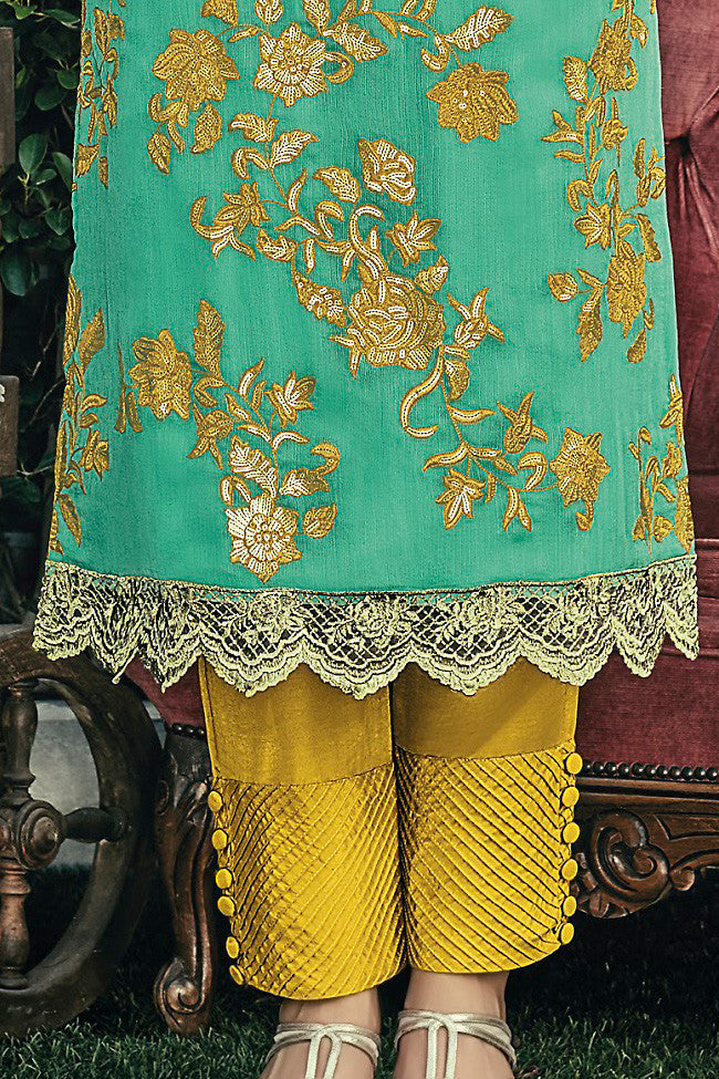 Buy Sea Green and Mustard Chiffon Straight Suit Online at indi.fashion