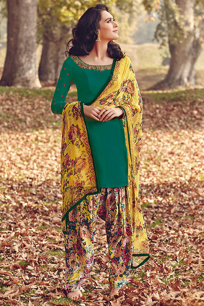 Indi Fashion Green and Yellow Printed Tussar Silk Straight Cut Suit