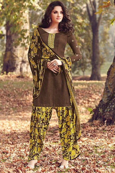 Indi Fashion Brown and Leaf Green Printed Tussar Silk Straight Cut Suit