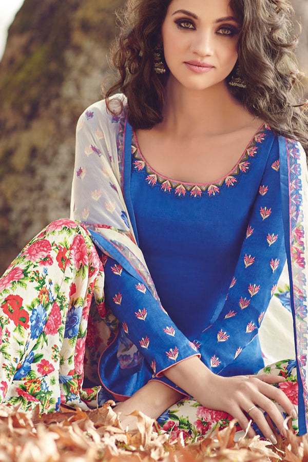 Indi Fashion Blue and White Printed Tussar Silk Straight Cut Suit