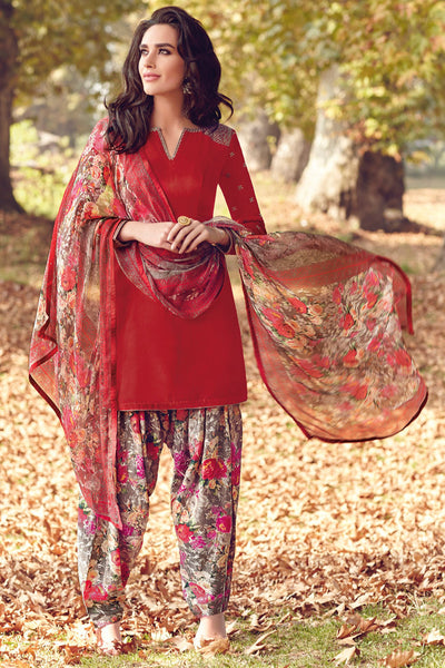 Indi Fashion Red Printed Tussar Silk Straight Cut Suit
