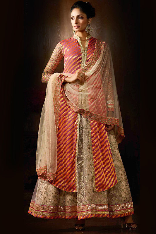 Indi Fashion Dark Peach Beige and Gold Viscose Party Wear Anarkali Suit