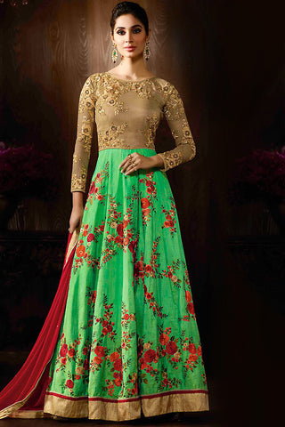 Indi Fashion Beige Green and Red Raw Silk Party Wear Anarkali Suit