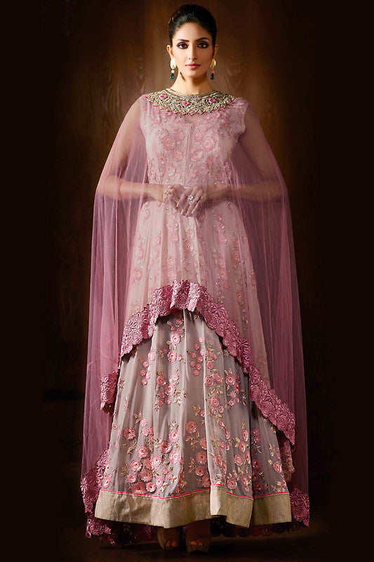 Buy Baby Pink and Light Gray Georgette Party Wear Anarkali Suit Online at indi.fashion