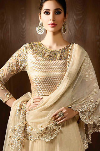 Indi Fashion Cream and Gold Georgette Party Wear Anarkali Suit