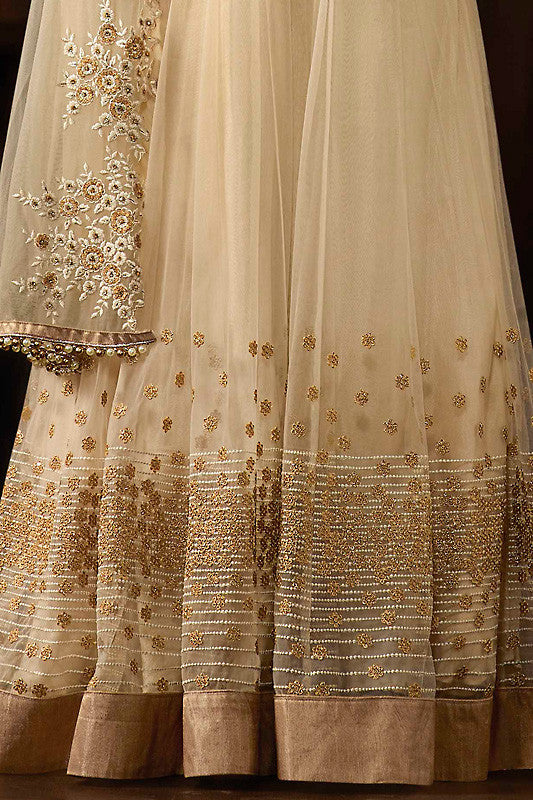 Buy Cream and Gold Georgette Party Wear Anarkali Suit Online at indi.fashion