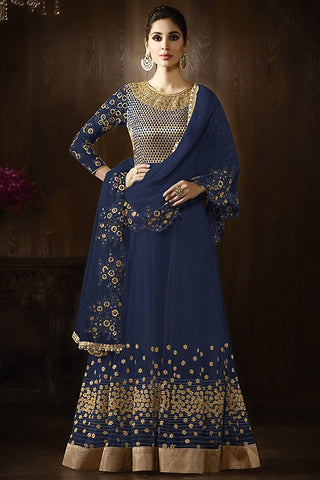 Indi Fashion Blue and Gold Georgette Party Wear Anarkali Suit