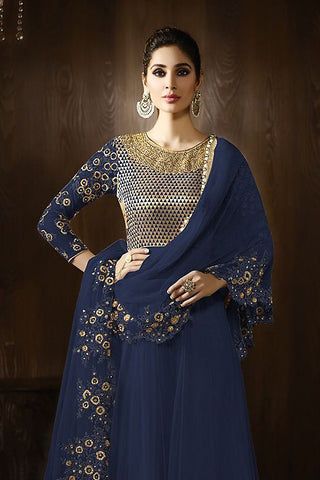 Buy Midnight Blue and Gold Georgette Party Wear Anarkali Suit Online at indi.fashion