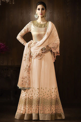 Buy Peach and Gold Georgette Party Wear Anarkali Suit Online at indi.fashion