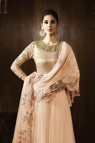Indi Fashion Peach and Gold Georgette Party Wear Anarkali Suit