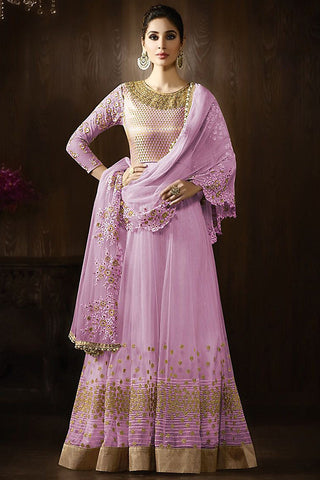 Buy Mauve and Gold Georgette Party Wear Anarkali Suit Online at indi.fashion
