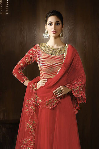 Buy Tomato Red and Gold Georgette Party Wear Anarkali Suit Online at indi.fashion