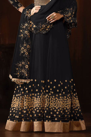 Indi Fashion Black and Gold Georgette Party Wear Anarkali Suit
