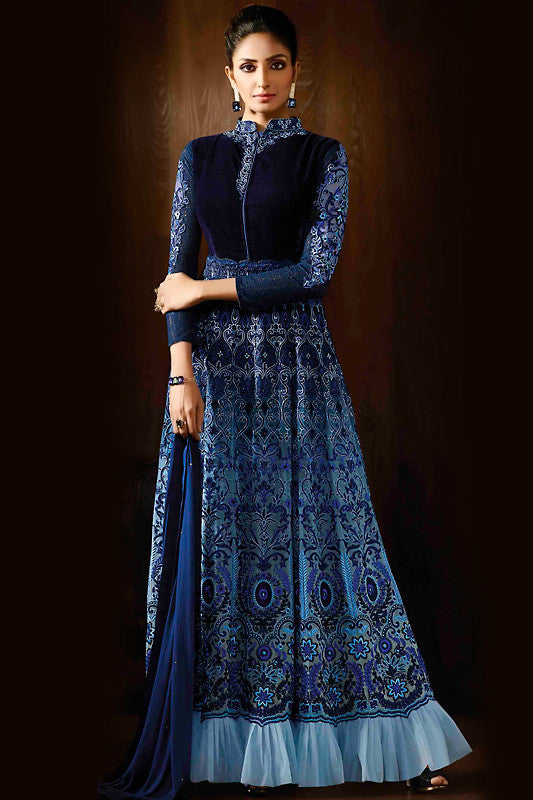 Indi Fashion Royal Blue and Sky Blue Georgette Party Wear Anarkali Suit