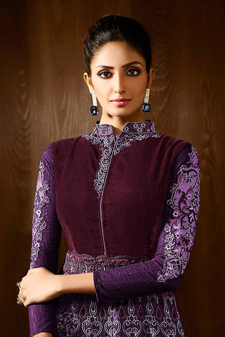 Indi Fashion Wine and Purple Georgette Party Wear Anarkali Suit