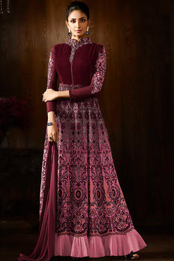 Indi Fashion Maroon and Pink Georgette Party Wear Anarkali Suit