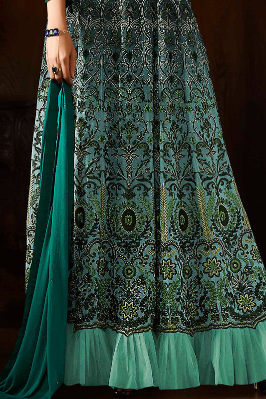 Indi Fashion Bottle and Sea Green Georgette Party Wear Anarkali Suit