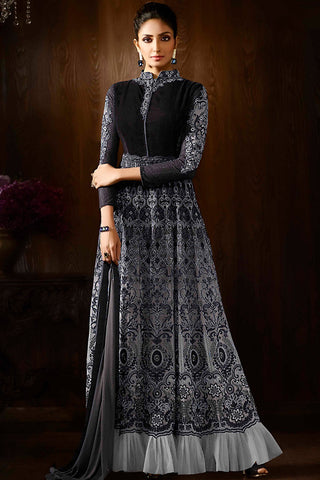 Indi Fashion Black and Gray Green Georgette Party Wear Anarkali Suit